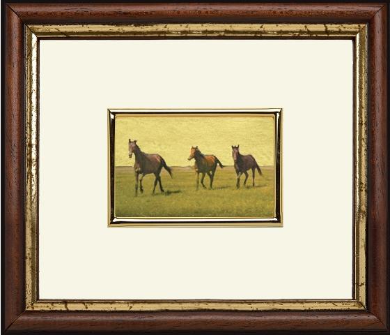 Lovak 6x4 cm aranyozott képen